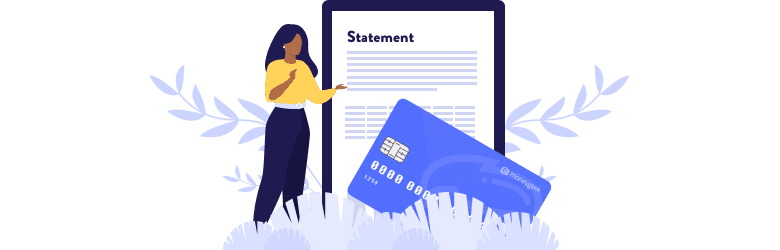 An illustration of a young woman reviewing her financial statements.