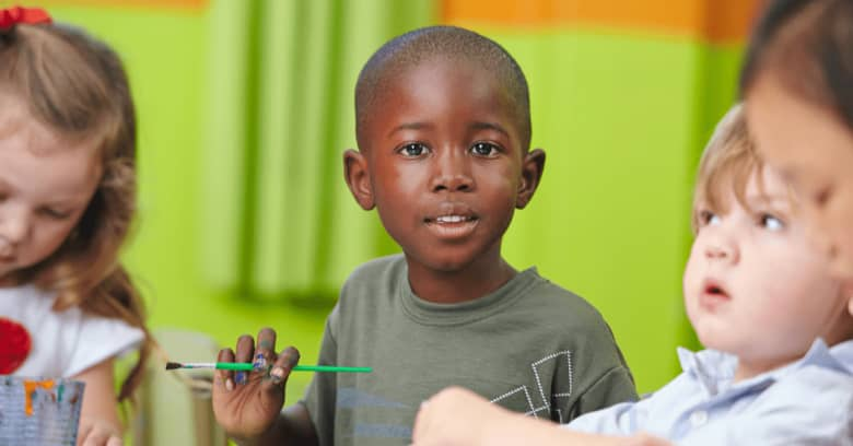 a young child attends a child care center