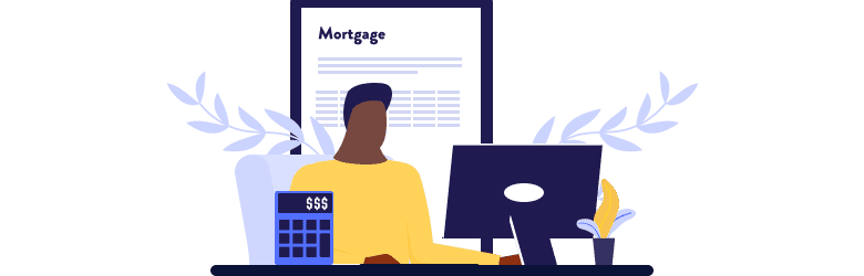 An illustration of a young man researching how to finance his multigenerational home with a mortgage loan.