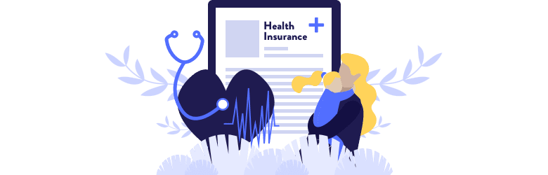 An illustration of a young mother holding her daughter appearing in front of health insurance documents.
