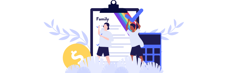 An illustration of a young couple planning for a family using a large clipboard and calculator.