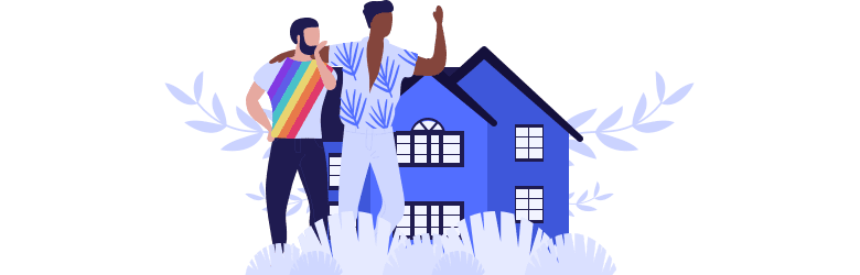 An illustration of a young gay couple exploring and looking at houses together.