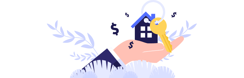 An illustration of a hand holding the keys to a new home.