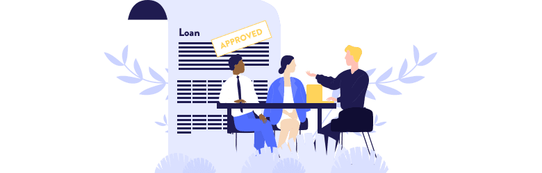 An illustration of a couple sitting at a table and discussing their VA home loan with their lender.