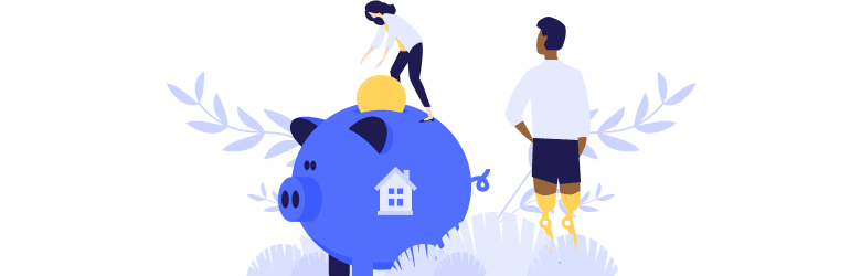 An illustration of a veteran with a disability is being supported by his partner, who is putting a large coin in a piggy bank.