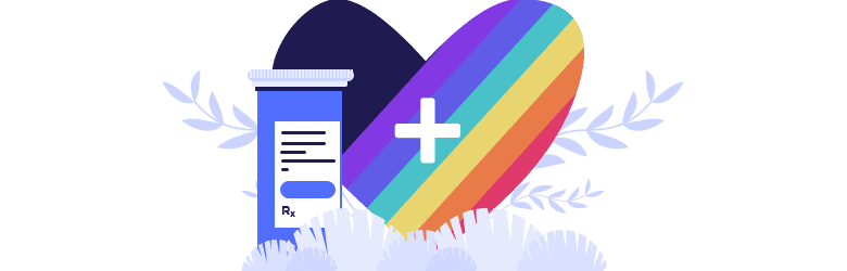 An illustration of a large heart with the Pride flag colors and a blue medicine bottle.