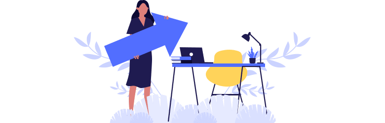 An illustration of a young woman standing next to her desk trying to develop a strategic plan to be more confident at work.