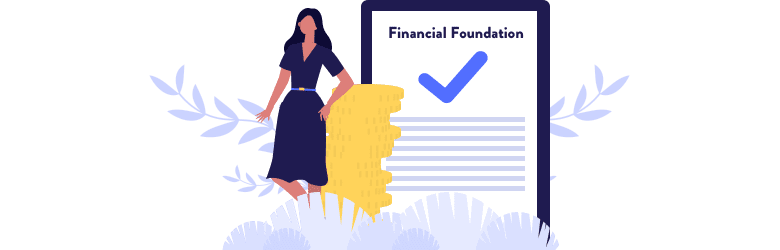An illustration of a young woman leaning against a stack of coins working on her financial foundation.