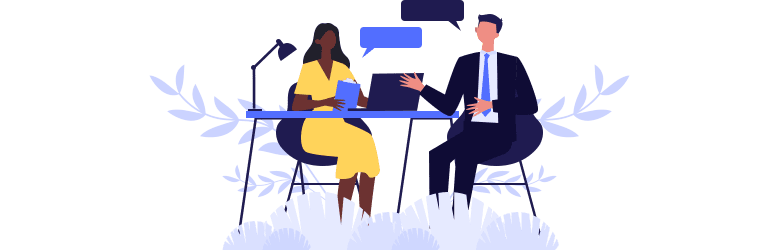 An illustration of a woman and her male coworker discussing her role and concerns.