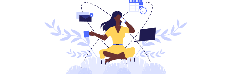 An illustration of a woman on the floor organizing her life events, such as juggling work, emails and appointments.