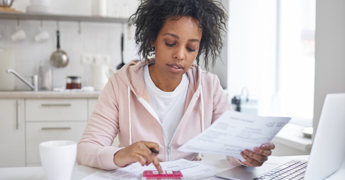 Woman looking through finances