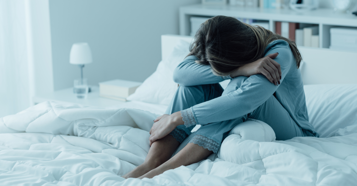 Women with depression in bed