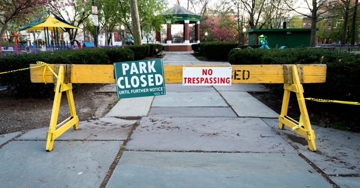 a park is closed due to coronavirus as ordered by state leadership