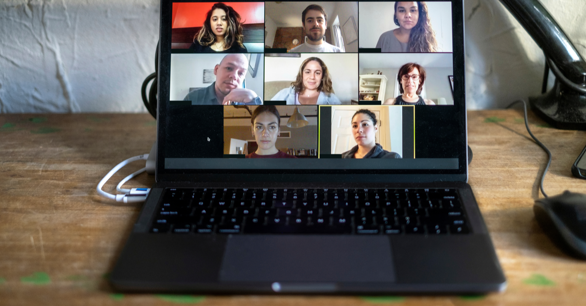 A group therapy meeting happens online