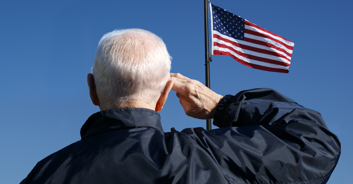 a retired military veteran salutes the U.S. flag