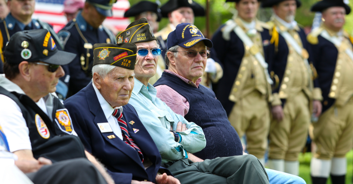 U.S. military war veterans assemble for a ceremony
