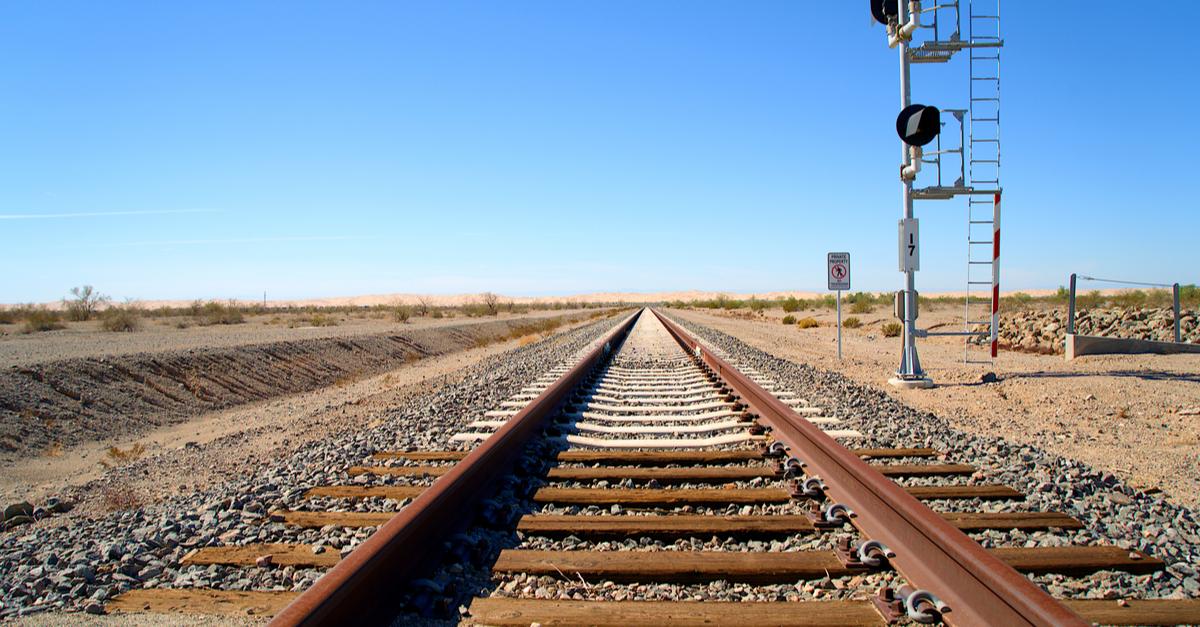 Train tracks near El Centro and Brawley, California.