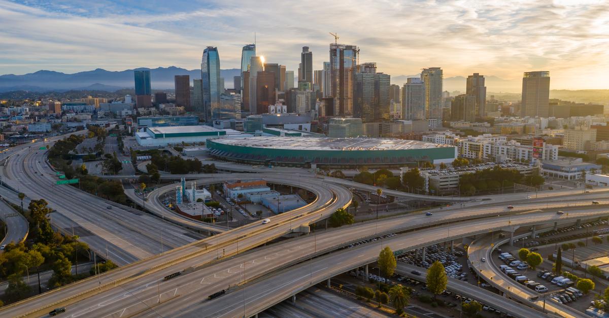 An empty Los Angeles, California freeway during the 2020 coronavirus public health crisis.
