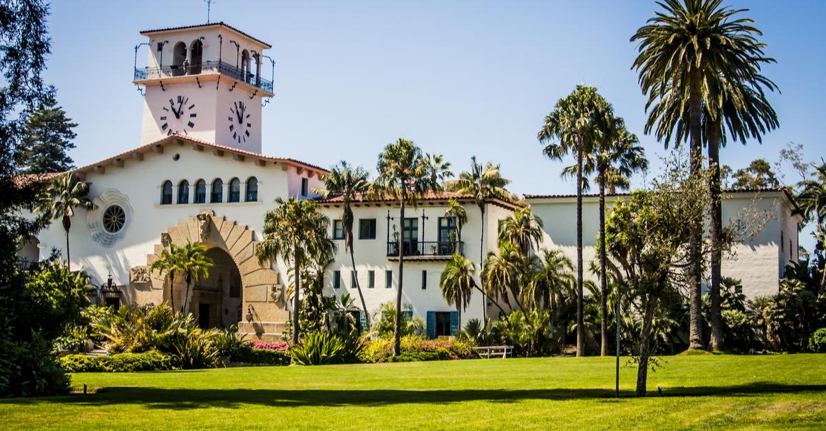 The Santa Barbara Courthouse in Santa, Barbara, California is an example of early California mission-style architecture.