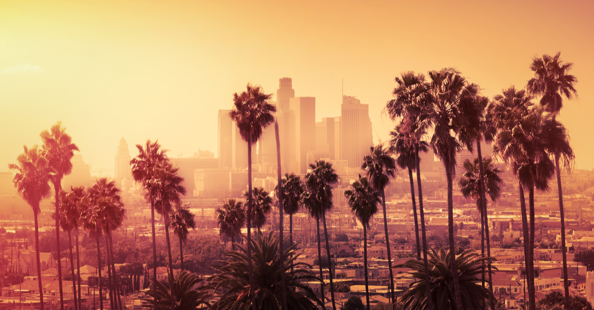 Downtown Los Angeles, California at sunset.