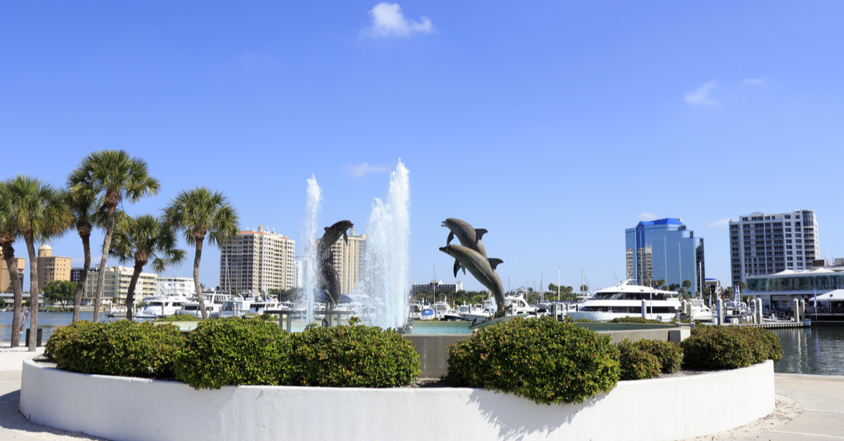 A dolphin fountain is featured in Sarasota, Florida