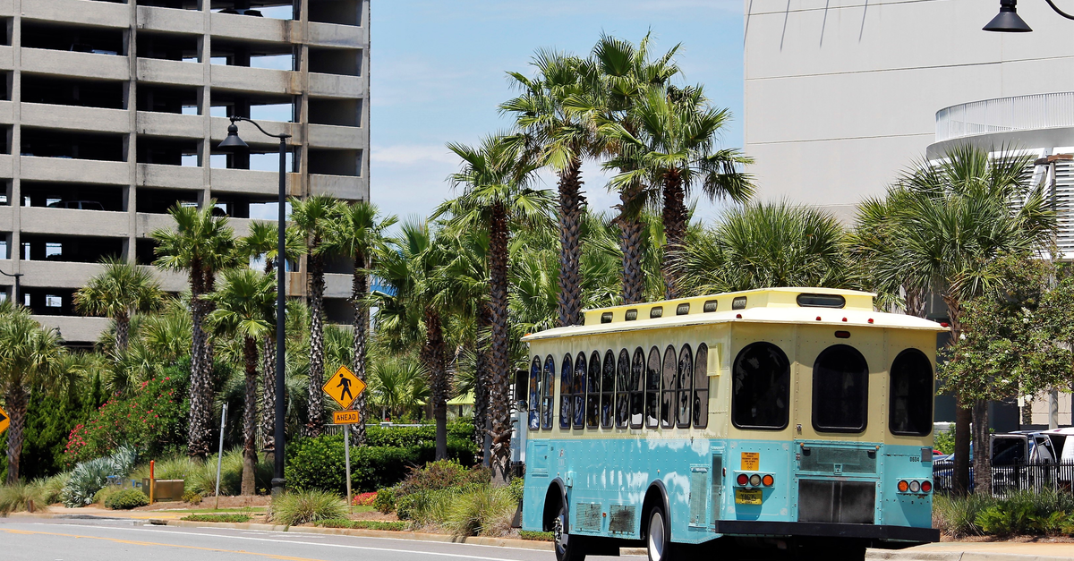 A colorful tourist bus is seen in Panama City, Florida