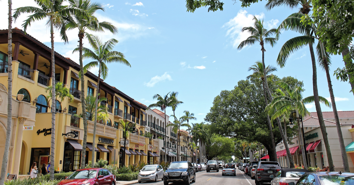Luxury shops on 5th Avenue in Naples, Florida