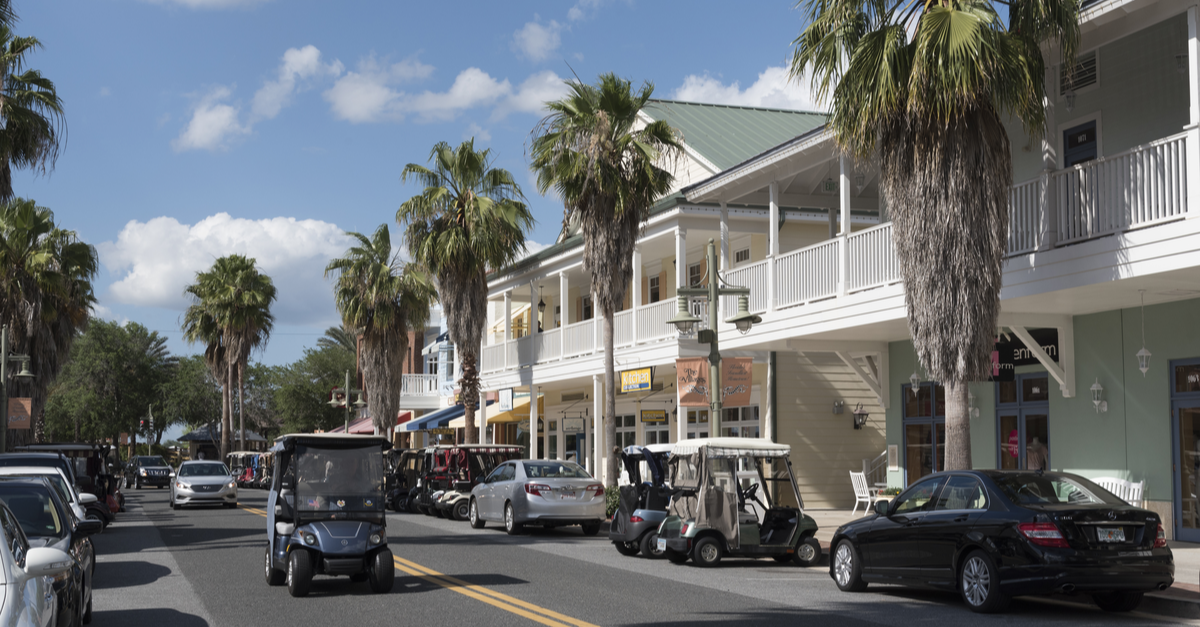A quaint shopping area is shown in The Villages, Florida