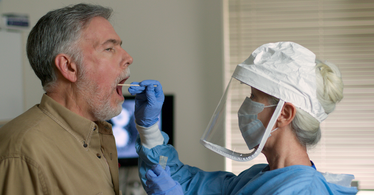 A man gets tested for the coronavirus
