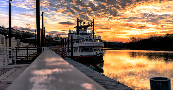Riverboat docked at Riverfront Park in Montgomery, Alabama on the Alabama River