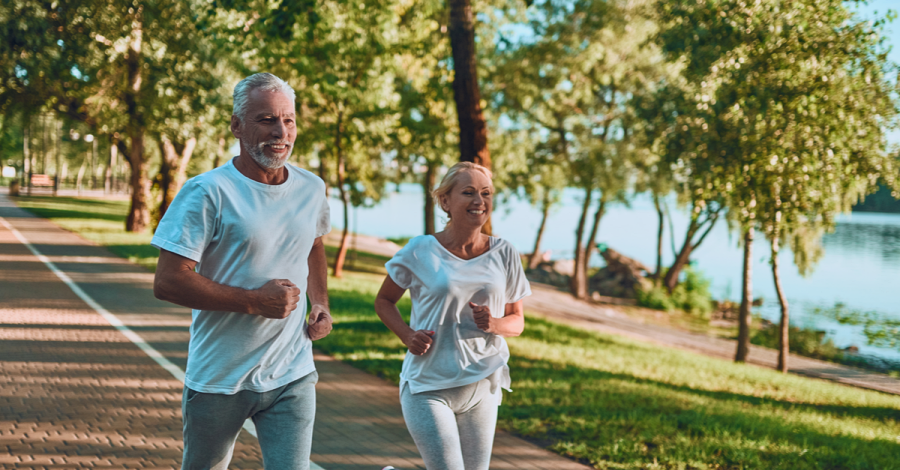 Residents of a retirement community go for a morning jog together