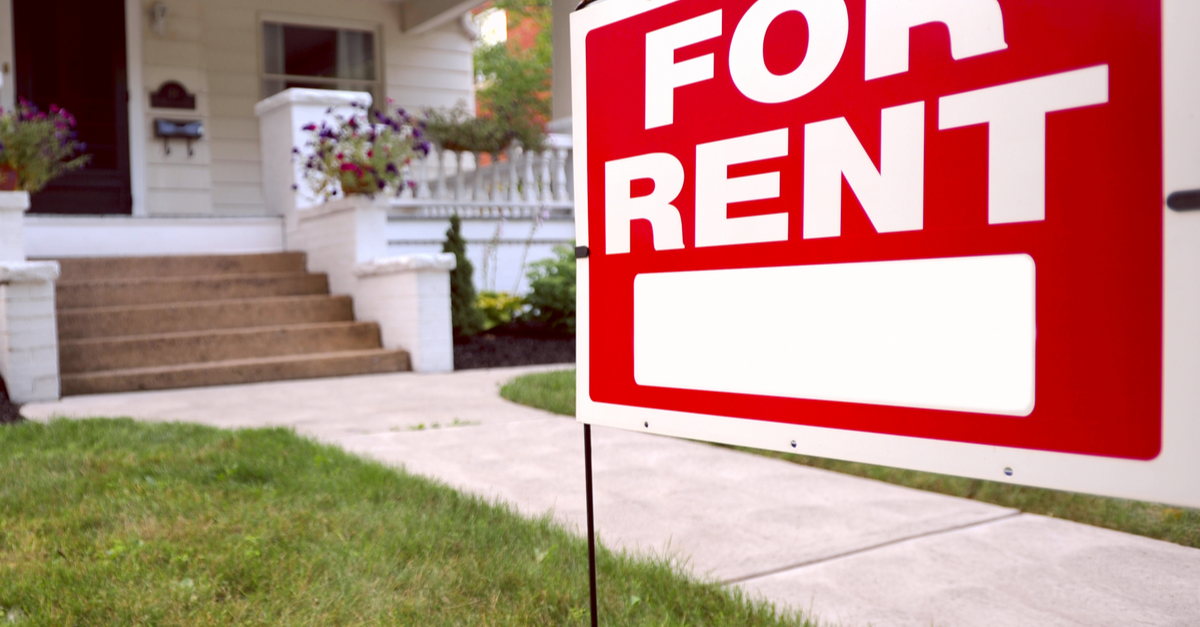 A home is shown with a 'for rent' sign in front