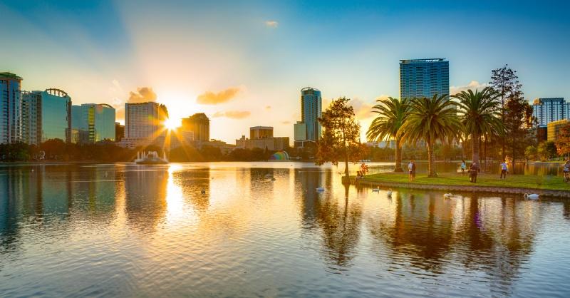 Lake Eola in Downtown Orlando, Florida.