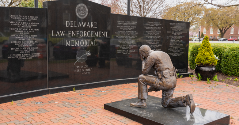 A police memorial in Delaware