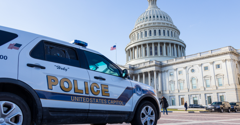 A Capitol Police car is shown in Washington, D.C.