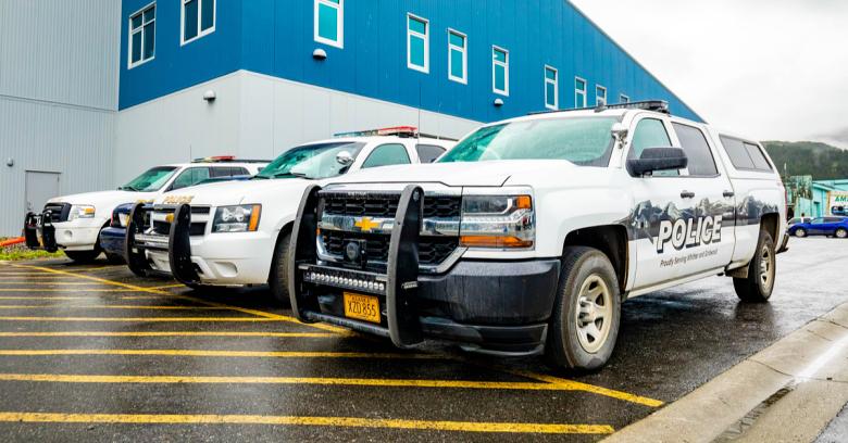 Police cars at a facility in Alaska