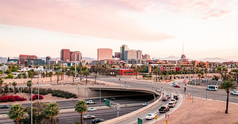 A busy thoroughfare in Phoenix, Arizona