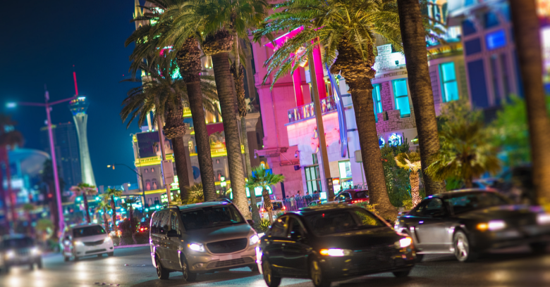 A busy street on the Las Vegas, Nevada strip
