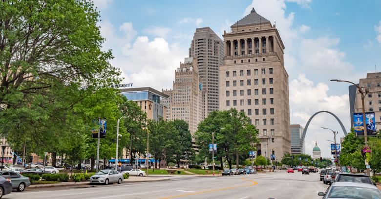 The downtown area of Saint Louis, Missouri