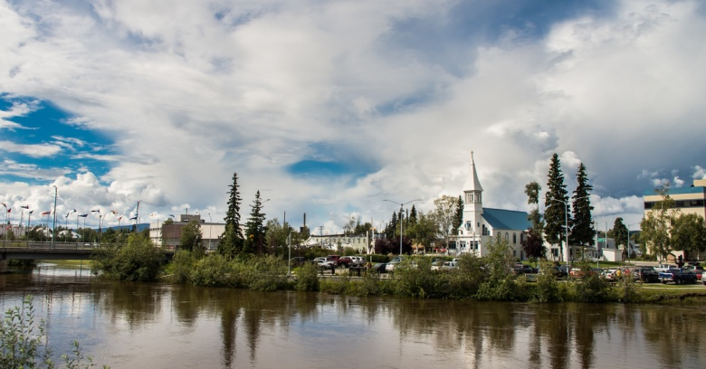 A view of Fairbanks, the safest small city in Alaska, from across Chena River.
