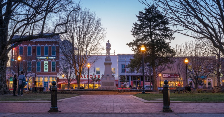 A view of downtown Bentonville, the safest small city in Arkansas.