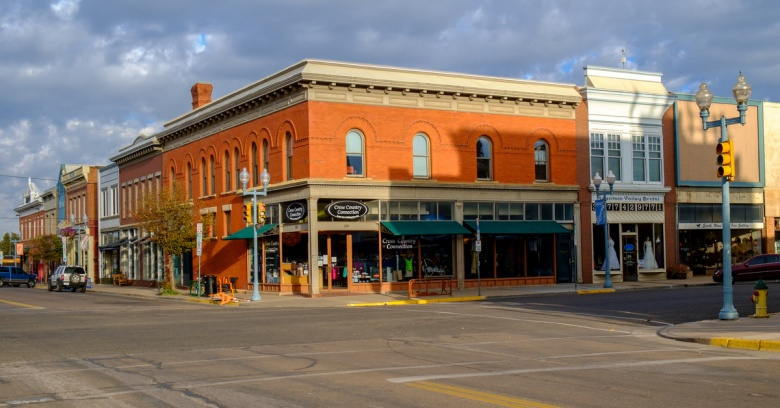 Shops in historic downtown Laramie, the safest small city in Wyoming.