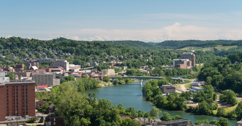 An aerial view of downtown Morgantown, WV.
