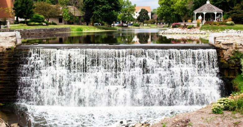 A waterfall/dam in Wisconsin's safest small city, Menomonee Falls.