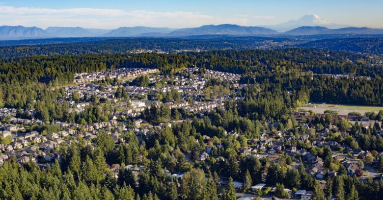 An aerial view of the cities of Bothell and Mill Creek in Washington.