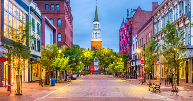 Church Street Marketplace in downtown Burlington, the safest small city in Vermont.