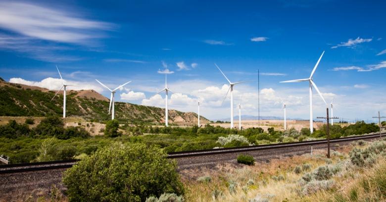 Windmills dot the road in Spanish Fork Canyon, Utah.