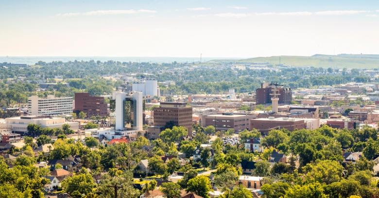 The skyline of Rapid City, the safest small city in South Dakota.
