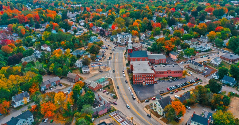 An aerial view of downtown Dover, NH, in the fall.