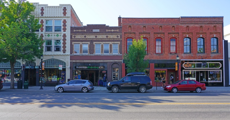 A view of downtown Bozeman, MT, home to Montana State University and the safest small city in the state.